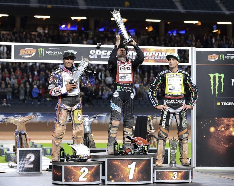 Od lewej: Greg Hancock, Tai Woffinden i Niels-Kristian Iversen. /AFP