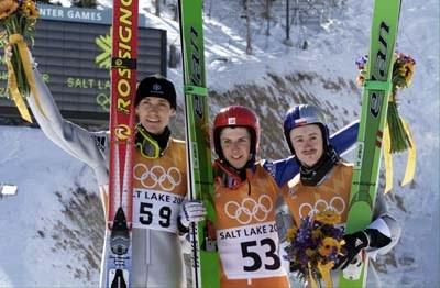 Od lewej: Hannawald, Ammann i Małysz