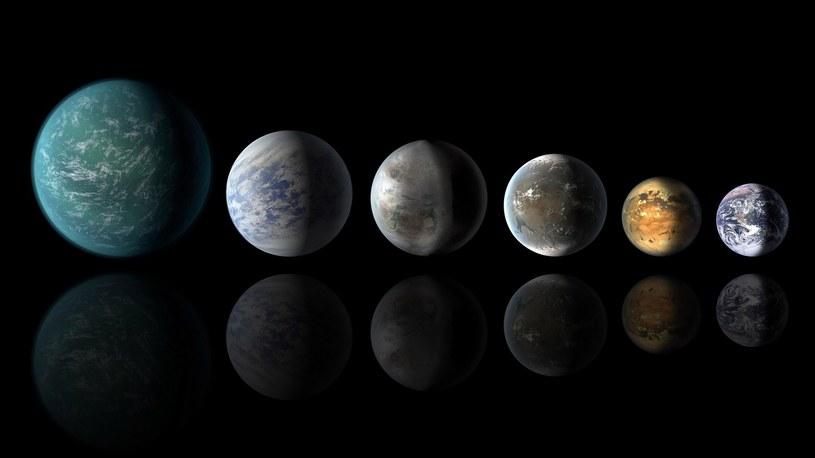 Od lewej Kepler-22b, Kepler-69c, Kepler-452b, Kepler-62f, Kepler-186f i Ziemia /AFP