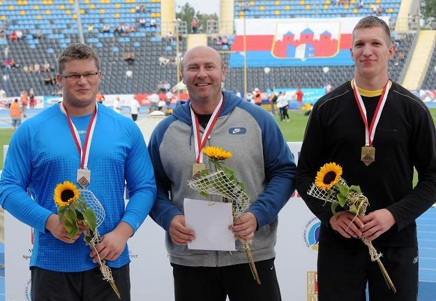 Od lewej: Paweł Fajdek, Szymon Ziółkowski i Wojciech Nowicki - medaliści konkursu rzutu młotem /PAP
