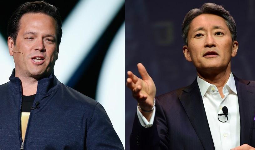 Od lewej: Phil Spencer (Microsoft) i Kaz Hirai (Sony) /AFP