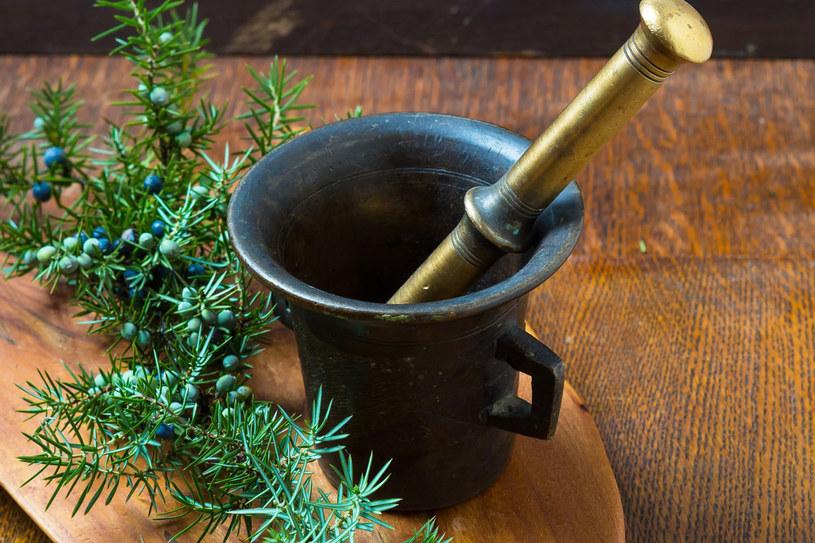 Odmierz łyżeczkę suszonych jagód jałowca, utłucz w moździerzu, wrzuć do garnka, zalej szklanką wody /123RF/PICSEL