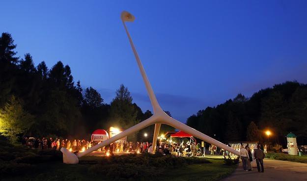Odnowiona i nowocześnie oświetlona Żyrafa - jeden z symboli parku / fot. Andrzej Grygiel /PAP
