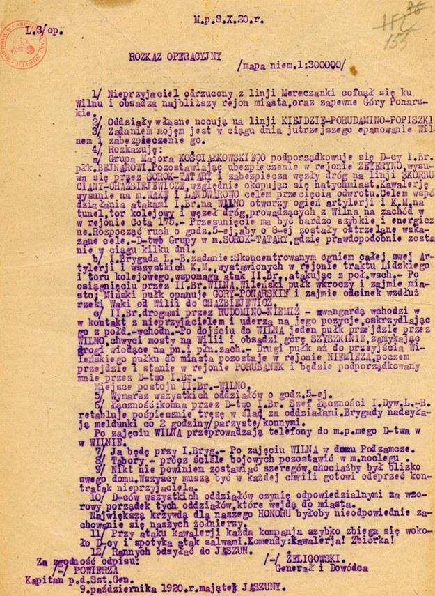 Odpis rozkazu gen. Żeligowskiego /Archiwum Akt Nowych /