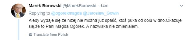 Odpowiedź Marka Borowskiego /Twitter