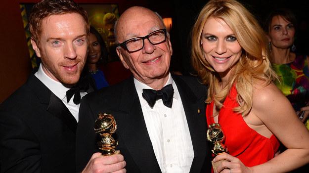 """Odtwórcy głównych ról w serialu """"Homeland"""" wraz z potentatem medialnym Rupertem Murdochiem. /Mark Davis /Getty Images"""
