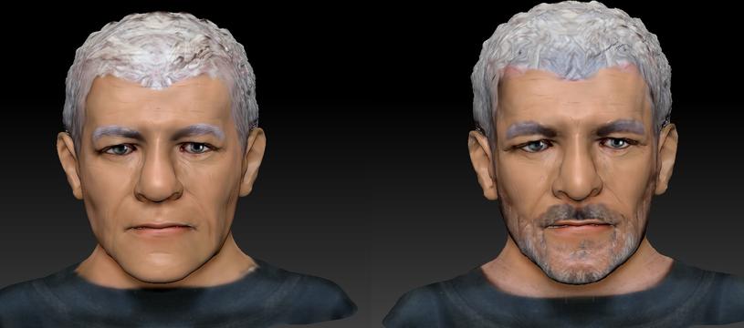 Odtworzony wizerunek mężczyzny, w wersji z zarostem i bez /Policja