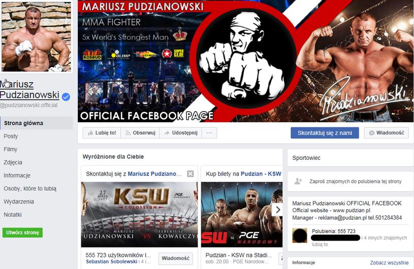 Oficjalny profil Mariusza Pudzianowskiego /print screen /