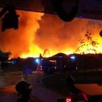 Ogień w składowisku śmieci w Olsztynie, strażacy w akcji