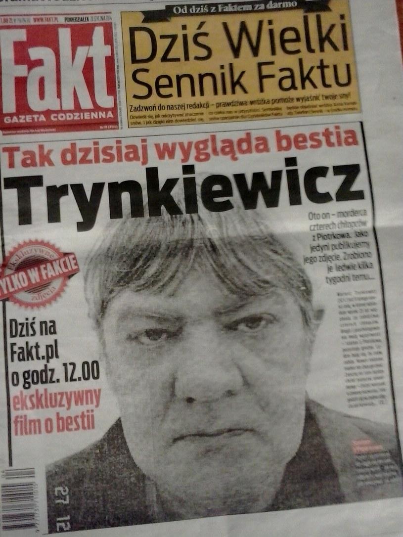 """Okładka """"Faktu"""" z aktualnym zdjęciem Trynkiewicza /INTERIA.PL"""