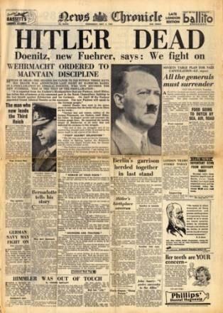 """Okładka """"News Chronicle"""" iformująca o śmierci Adolfa Hitlera /INTERIA.PL"""