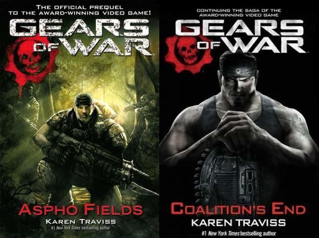 Okładki dwóch z czterech do tej pory wydanych powieści o tematyce Gears of War /Informacja prasowa