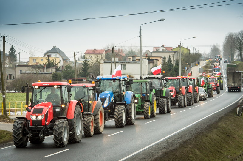 Około 200 ciągników zablokowało drogę krajową numer 5 w okolicach miejscowości Żnin /Tytus Żmijewski /PAP
