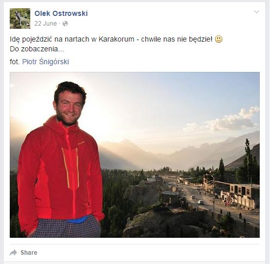 Olek Ostrowski na tle Karakorum /Piotr Śnigórski /facebook.com