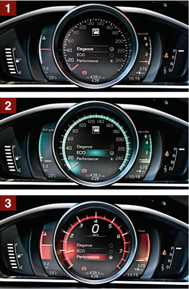 Opcjonalny ekran 8'' zamiast zegarów ma 3 tryby. Standardowy to Elegance [1]. W ustawieniu ECO [2] po lewej stronie zestawu widać wskaźnik ekonomicznej jazdy. Tryb Performance [3] – centralny obrotomierz z cyfrowym prędkościomierzem. /Motor