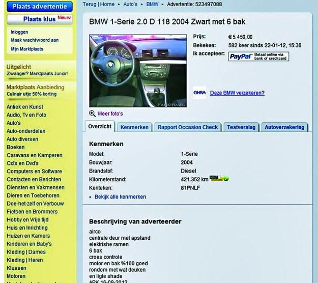Oryginalne ogłoszenie sprzedaży auta z Holandii. Znacznie niższa cena i prawdziwy przebieg. Cena: 5450 euro, przebieg: 421 000 km /Motor