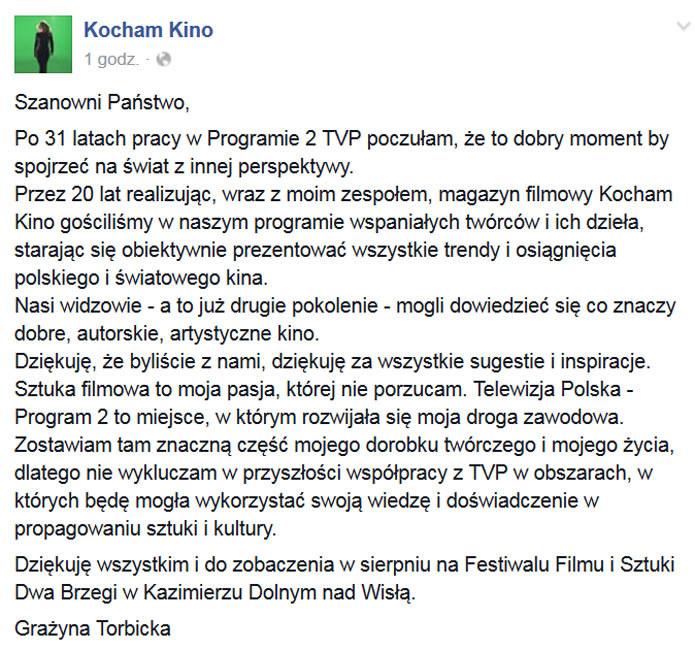 Oświadczenie Grażyny Torbickiej /Kocham Kino /Facebook