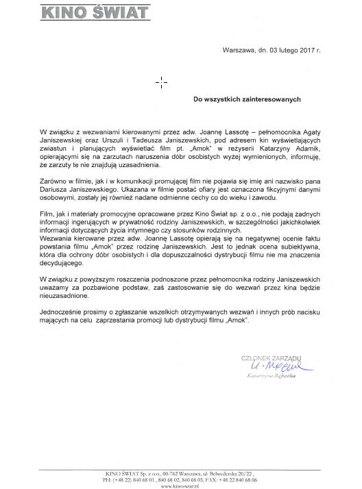 Oświadczenie Kino Świat /materiały dystrybutora