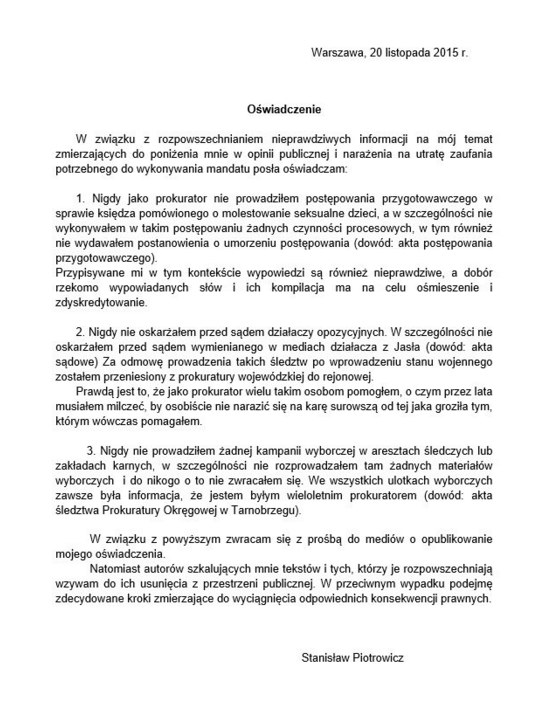 Oświadczenie Stanisława Piotrowicza /