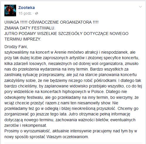 Oświadczenie Zooteki na Facebooku /