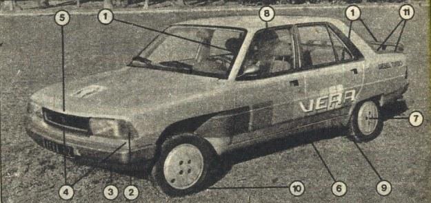 Oto co zmieniono w samochodzie Peugeot 305: 1 - wklejane szyby przednia i tylna, brak rynienek dachowych, spoiler na bagażniku, 2 - zaokrąglone i uszczelnione krawędzie lamp przednich, 3 - spoiler przedni połączony ze zderzakiem, 4 - zmniejszony wlot powietrza, polepszony opływ boków nadwozia, 5-bardziej zaokrąglona krawędź przednia pokrywy, 6-podłoga samochodu w obszarze drzwi tylnych całkowicie gładka, 7- koła jezdne całkowicie osłonięte, 8 - odchylacze strugi w drzwiach przednich, 9-odchylaczestrugi przed kołami tylnymi, 10 - opony o niskim współczynniku oporów toczenia, 11 - listwa kierująca dookoła okna tylnego, kończąca się pod spoilerem. /Motor