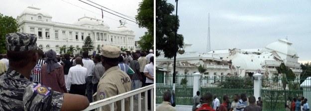 Pałac prezydencki w Port-au-Prince przed i po trzęsieniu ziemi /AFP