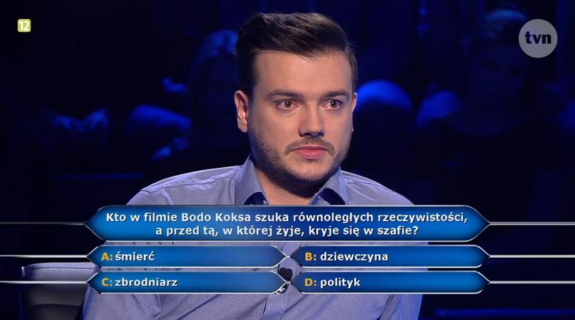 """Pan Szymon i pytanie w """"Milionerach"""" za gwarantowane 40 tys. złotych /TVN"""