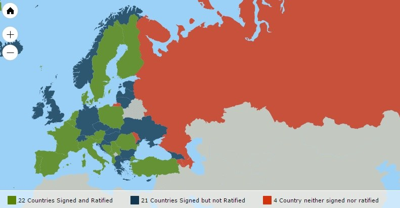 Państwa, które ratyfikowały konwencję, fot. coe.int /