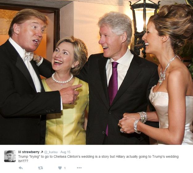 Państwo Clintonowie na weselu Donalda Trumpa /Twitter