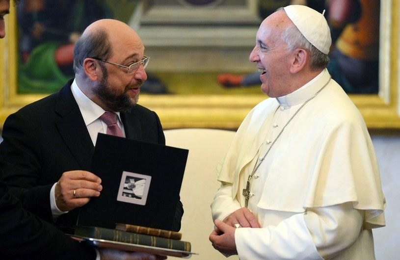 Papież Franciszek i Martin Schultz /AFP