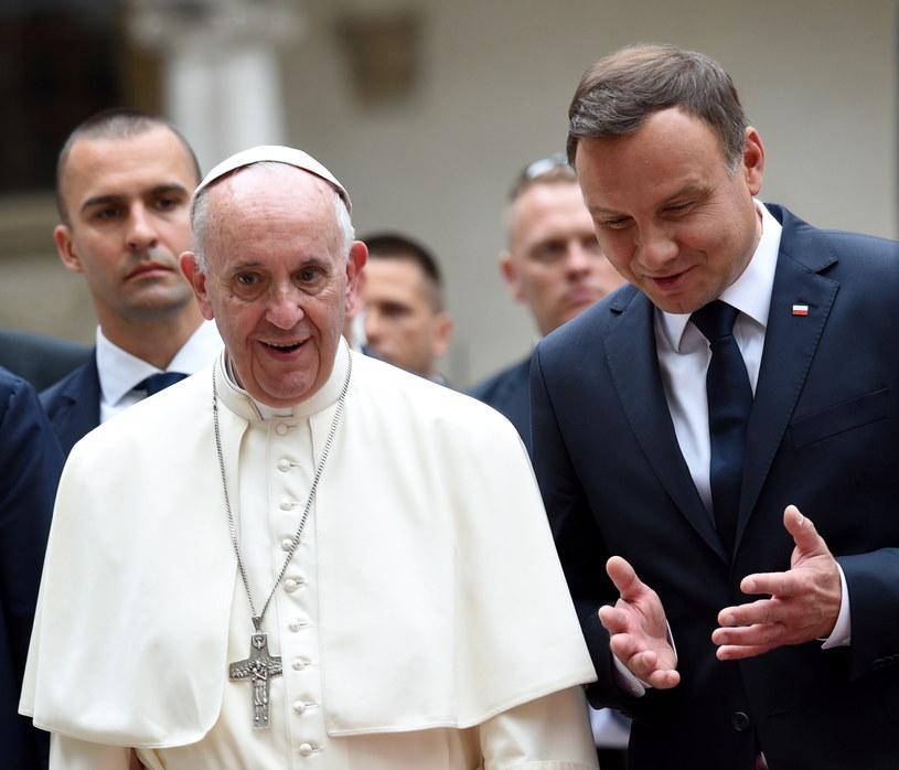 papież Franciszek oraz prezydent Andrzej Duda /Jacek Turczyk /PAP