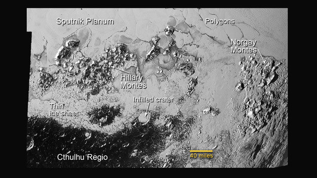 Pasma górskie Hillary'ego i Norgaya na Plutonie /NASA