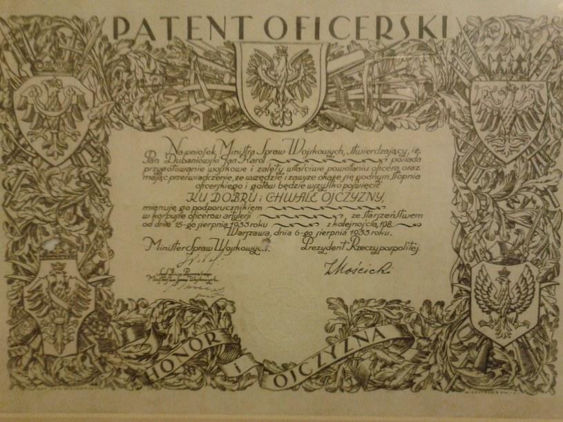 """Patent oficerski Jana """"Salwy"""" Dubaniowskiego, fot. archiwum rodzinne /"""