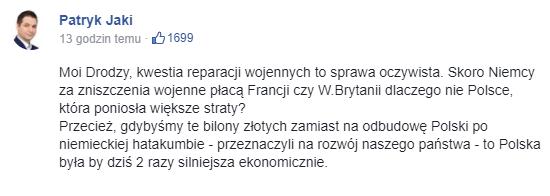 Patryk Jaki na Facebooku /Facebook