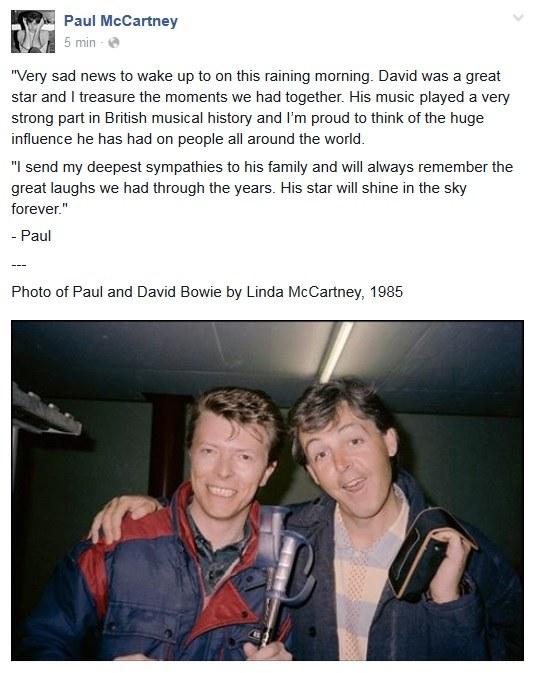 Paul McCartney wspomniał Davida Bowiego na Facebooku /&nbsp /
