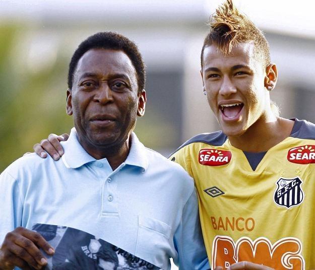 Pele i Neymar. Legenda i wschodząca gwiazda brazylijskiego futbolu /AFP