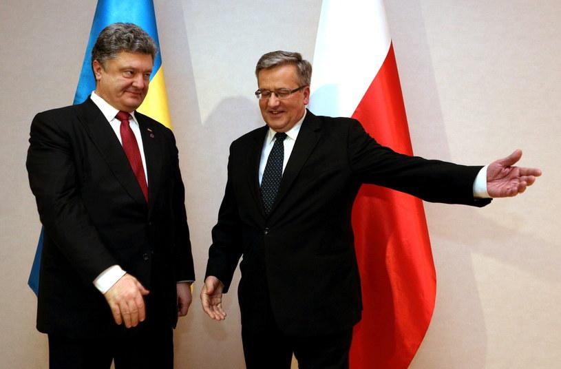 Petro Poroszenko i Bronisław Komorowski /Stanisław Rozpędzik /PAP