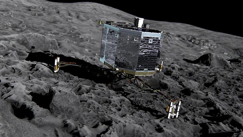 Philae na powierzchni komety 67P - wizualizacja. /materiały prasowe