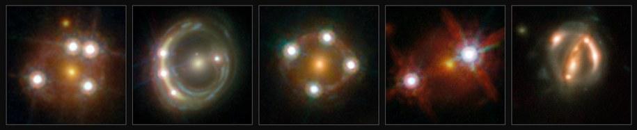 Pieć obserwowanych kwazarów. Widać ich pomnożone wskutek ogniskowania obrazy /ESA/Hubble, NASA, Suyu et al. /materiały prasowe