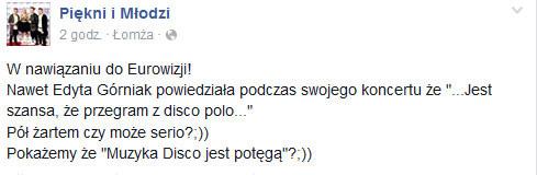 Piękni i Młodzi o Eurowizji na Facebooku /