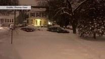 Piękny krajobraz po śnieżnej zamieci