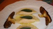 Pierogi z dynia, smazone borowiki i sos maslowo-szalwiowy