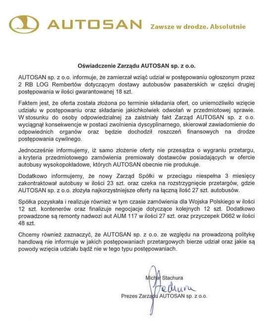 Pierwotne oświadczenie Autosanu /Zrzut ekranu