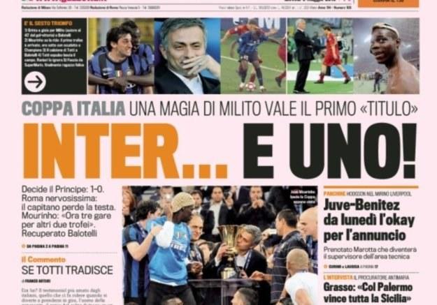 """Pierwsza strona czwartkowej 'La Gazzetta dello Sport"""" /INTERIA.PL"""