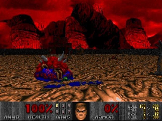"""Pierwszy poziom trzeciego epizodu """"Dooma"""" pod Doomem Retro. Proszę zwrócić uwagę na niebieską krew przed truchłem cacodemona. /INTERIA.PL"""