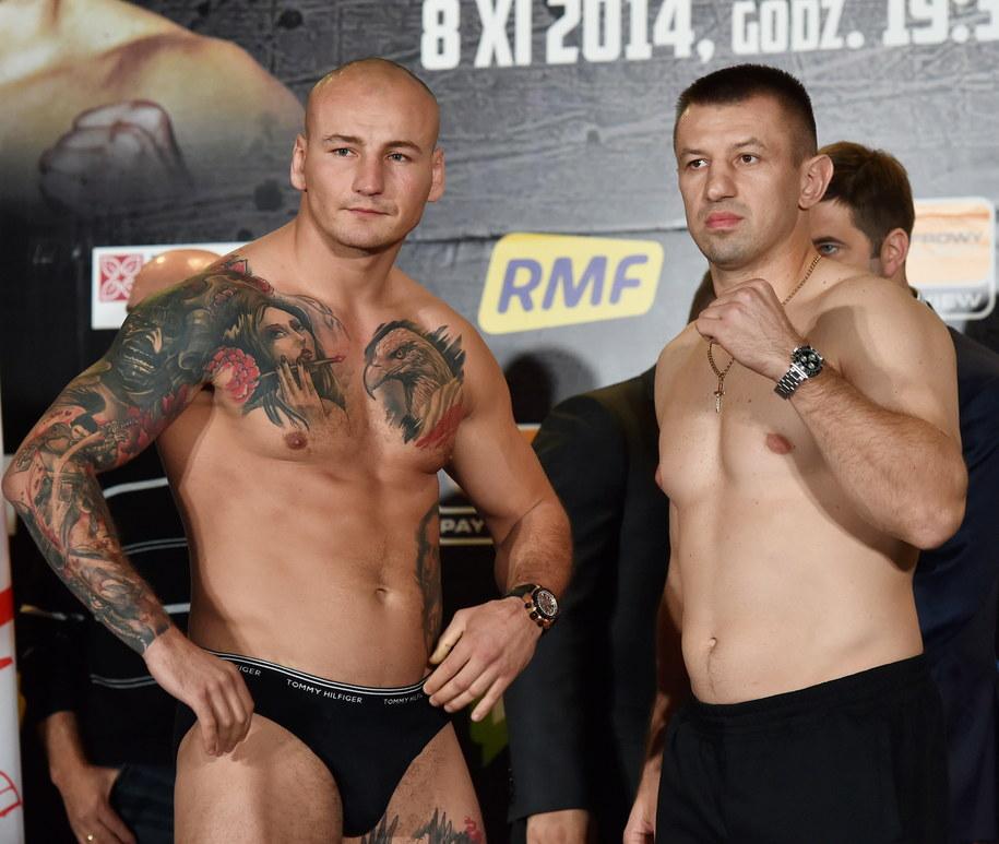 Pięściarze wagi ciężkiej Tomasz Adamek i Artur Szpilka /Jacek Bednarczyk /PAP