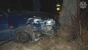 Pijany kierowca zatrzymał się na drzewie