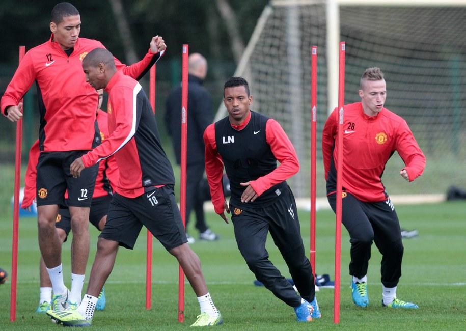 Piłkarze Manchesteru United podczas treningu /LINDSEY PARNABY /PAP/EPA