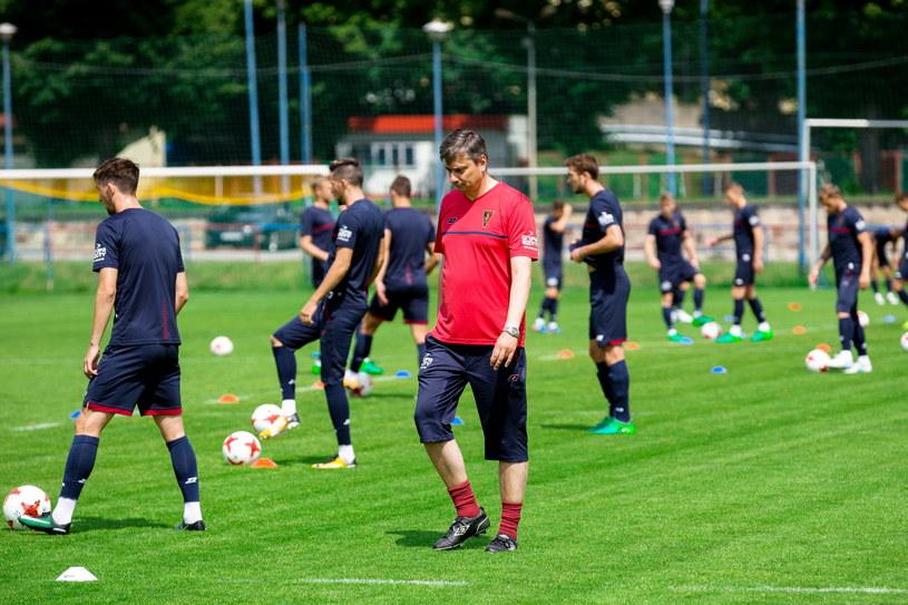 Piłkarze Pogoni trenują przed meczem z Wisłą Kraków /Fot. Jerzy Muszyński /PAP
