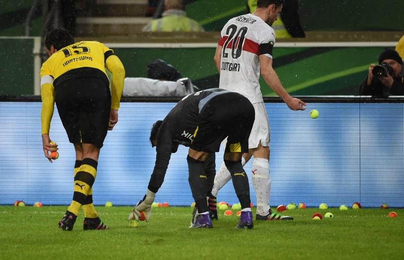 Piłkarze VfB Stuttgart i Borussii Dortmund zbierają piłeczki tenisowe /AFP